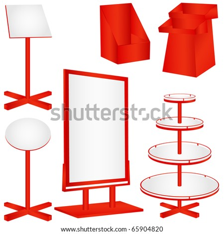 Blank Red billboard, display panels isolated on white - stock photo