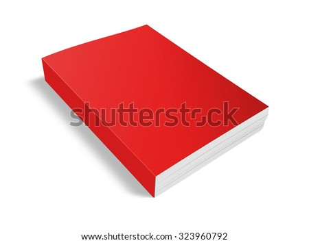 Blank red book isolated on white with clipping path - stock photo