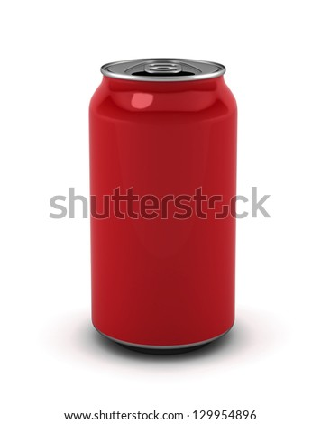 Blank red can. 3d illustration on white background
