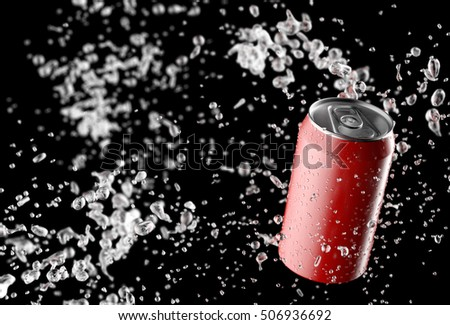 Blank red can with water splashes isolated on black background. 3d render