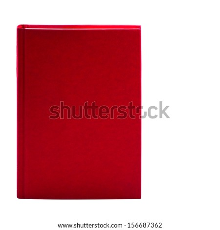 Blank red hardcover book isolated on white background with copy space  - stock photo