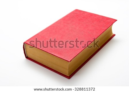 Blank red hardcover book on white background with copy space - stock photo