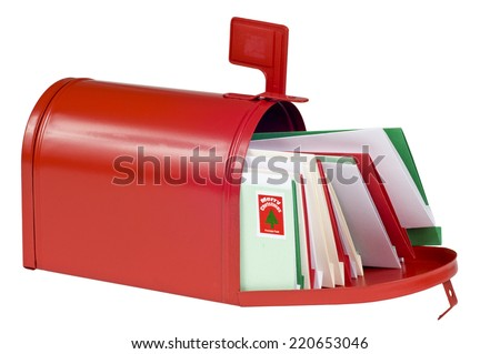 Blank Red Mailbox Filled With Christmas Cards/ Horizontal Shot/ Isolated On White - stock photo