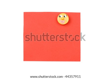 blank red note with magnet - stock photo