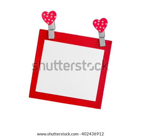 Blank red paper isolated use for insert text isolated on white background. - stock photo