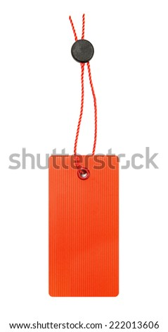 Blank red paper label - stock photo