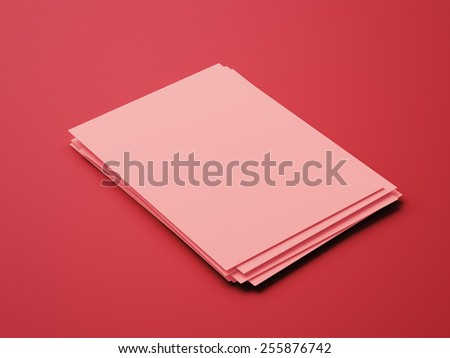 Blank Red Paper Notepad isolated on red background