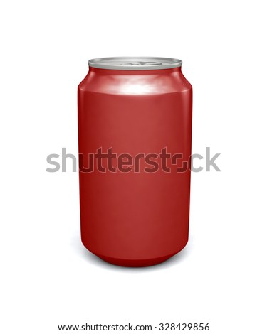 Blank red soda can mock-up isolated on clean white background
