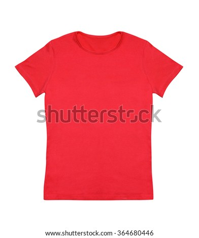 Blank red t-shirt isolated on white - stock photo