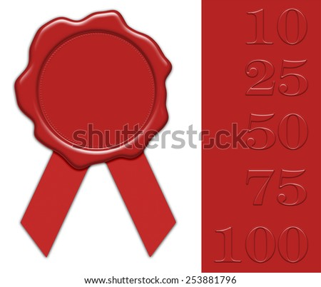 blank red wax seal illustration with ribbon, with collection of different jubilee numerals for own editing, isolated on white background - stock photo