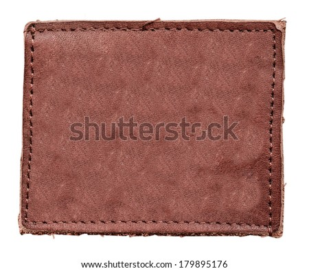 blank reddish leather label on white background Can be used for Your text