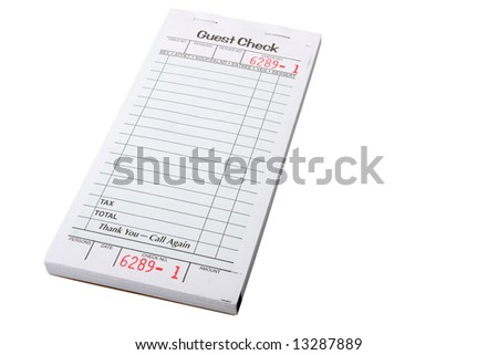blank restaurant invoice isolated on white, put your own text on it