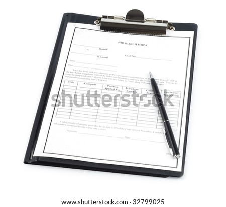 Blank resume with pen isolated with clipping path over white - stock photo