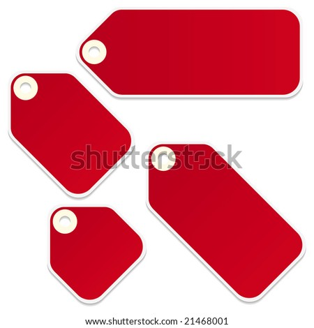 Blank retail tags isolated on a white background - stock photo