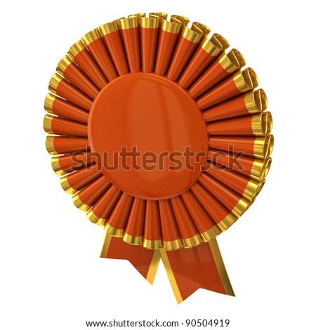 Blank ribbon rosette award 3d - stock photo