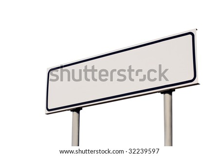Blank road sign isolated - stock photo