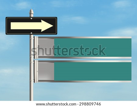 Blank road sign on the sky background. Plenty of space for any text. Raster illustration.