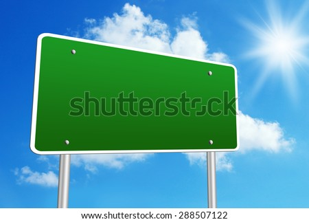 Blank road sign with blue shiny sky background.