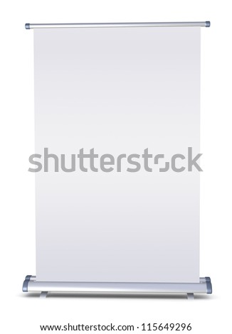 Blank roll-up banner - stock photo