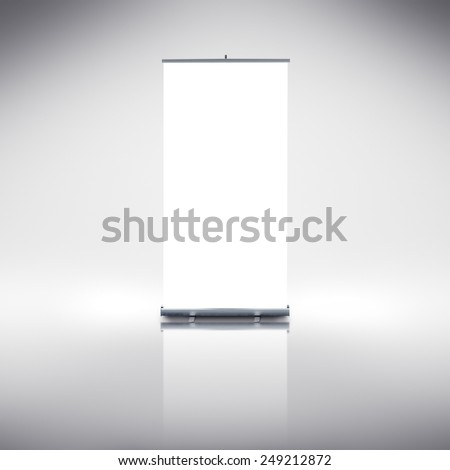 Blank Roll up banner as copy space template for your text or design portfolio. Point of sale marketing graphics element.