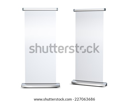 Blank roll up banner display - stock photo