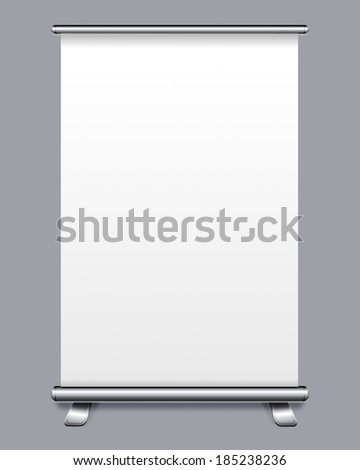 Blank roll up banner display on gray background  - stock photo