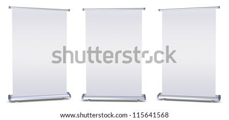 Blank roll-up banner display on white background