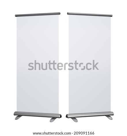 Blank roll up banner display on white background, clipping path included - stock photo