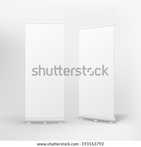 blank roll up banner on white background - stock photo