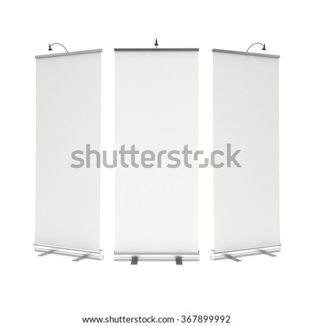 Blank Roll Up Banner Stand Group. Trade show booth white and blank. 3d render illustration isolated on white background. Template mockup for your design. - stock photo