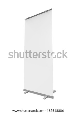 Blank Roll Up Display Banner. 3D rendering