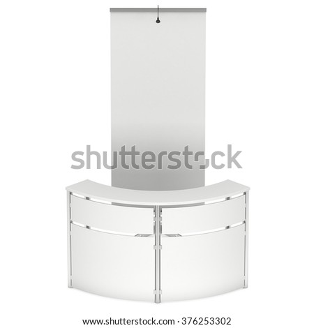 Blank Roll Up Expo Banner Stand and Modern Reception Desk. Trade show booth white and blank. 3d render illustration isolated on white background. Template mockup for your expo design.