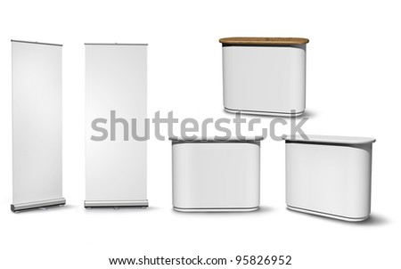 Blank roll-up poster and oval fair desk versions on white background - stock photo