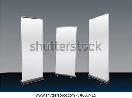 Blank Roll Ups Set - stock photo