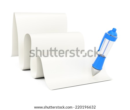 Blank rolling paper list and pen isolated on white background. 3d rendering image - stock photo