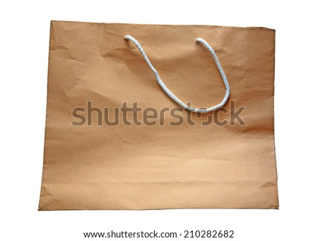 Blank rough brown paper bag isolated on white background - stock photo