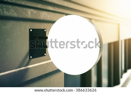 Blank round signboard hanging on grey building. Mock up, 3D Render - stock photo