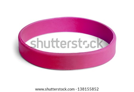 Blank rubber plastic stretch Pink bracelet isolated on white background. - stock photo