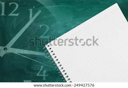 Blank school board and blank checked note paper, collage with clock - stock photo