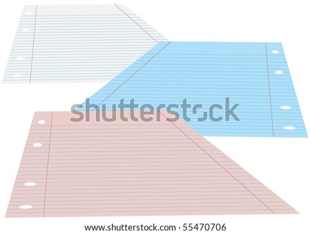 Blank School Lined Papers - stock photo