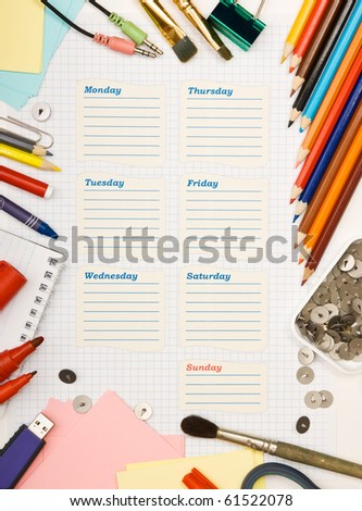 blank school schedule for the week - stock photo