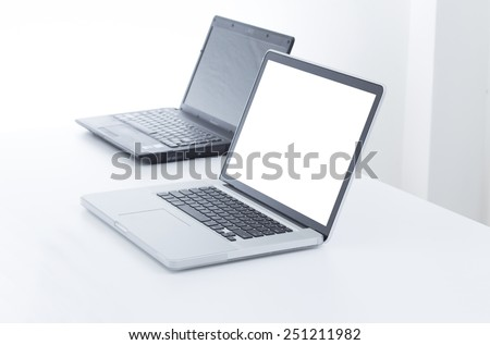 Blank screen laptop computer - stock photo