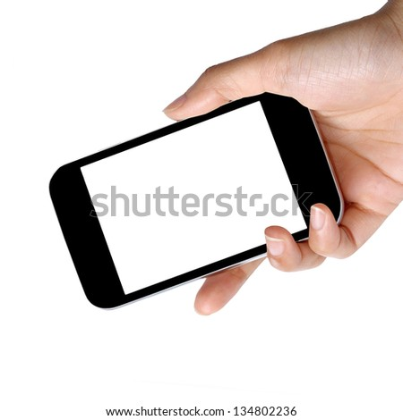 blank screen modern mobile phone in hand - stock photo