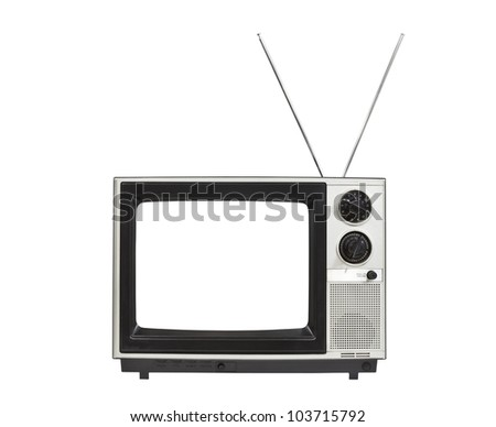 Blank screen portable vintage television with antennas up.  Isolated on white. - stock photo