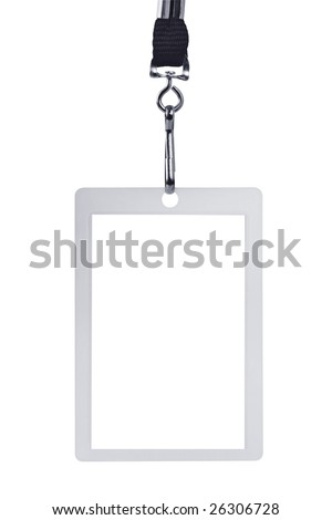 Blank security identification pass on a lanyard, isolated on white. - stock photo