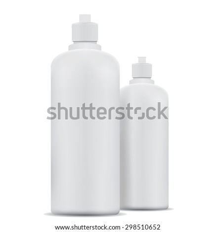 Blank shampoo bottles isolated on white background - stock photo