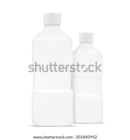 Blank shampoo bottles isolated on white background - stock photo