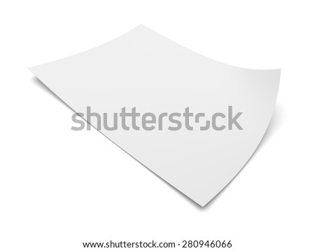 Blank sheet of paper isolated on white background - stock photo