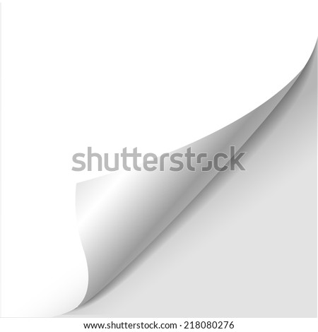 blank sheet of paper with page curl over white - stock photo