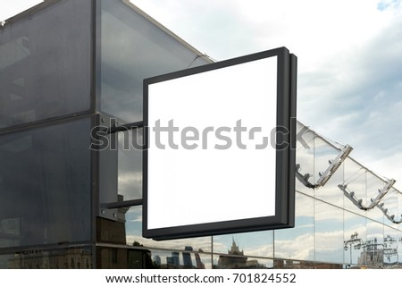 Blank shop sign on glass wall. Square signage mockup. 3d illustration.